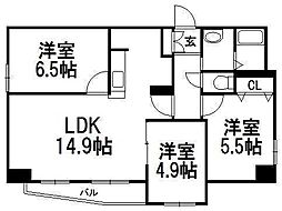 北海道札幌市西区発寒六条5丁目の賃貸マンションの間取り