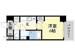 プレサンス新大阪コアシティ 3階1Kの間取り