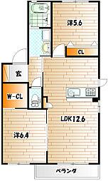 フィールドイン・湯川 B棟[2階]の間取り