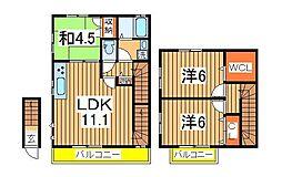 千葉県流山市十太夫の賃貸アパートの間取り