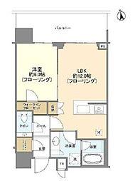 都営大江戸線 汐留駅 徒歩6分の賃貸マンション 15階1LDKの間取り