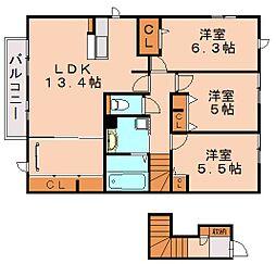 D−room 寺塚 弐番館[2階]の間取り