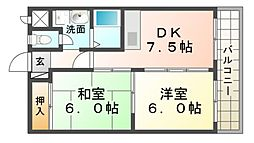 兵庫県尼崎市南塚口町3丁目の賃貸マンションの間取り