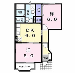 岩手県盛岡市三本柳の賃貸アパートの間取り