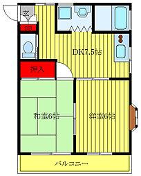 JR高崎線 尾久駅 徒歩10分の賃貸マンション 3階2DKの間取り
