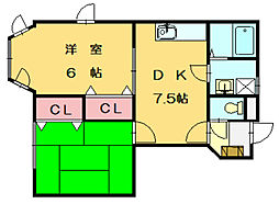 福岡県福岡市東区土井2丁目の賃貸アパートの間取り