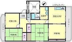 山田西B団地A16棟[1階]の間取り