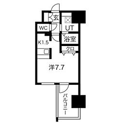 アドバンス名古屋モクシー 8階1Kの間取り