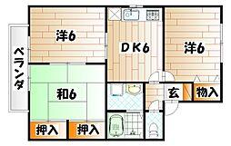 セジュール鴨生田 D棟[2階]の間取り