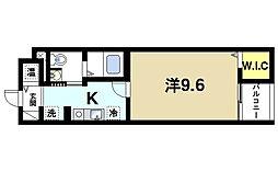 ベルオーブIII 3階1Kの間取り