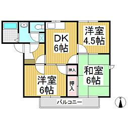 フローレス稲里 NE[2階]の間取り
