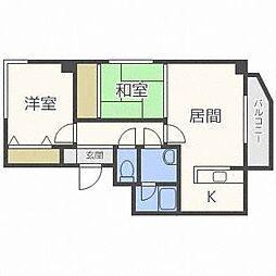 北海道札幌市西区二十四軒四条4丁目の賃貸マンションの間取り