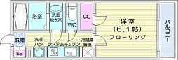 仙台市営南北線 北四番丁駅 徒歩6分の賃貸マンション 2階1Kの間取り