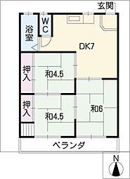 三輪マンション[3階]の間取り
