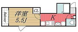 JR総武線 稲毛駅 徒歩12分の賃貸アパート 1階1Kの間取り
