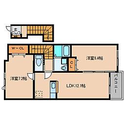 奈良県葛城市東室の賃貸アパートの間取り