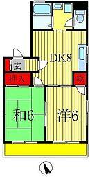 千葉県松戸市八ヶ崎5丁目の賃貸アパートの間取り