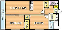 ひびきのハイム C[2階]の間取り
