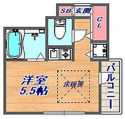 ビーブル・デスポワール御影[3階号室]の間取り