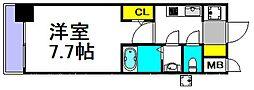 S-RESIDENCE三国 7階1Kの間取り