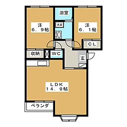 愛知県北名古屋市鹿田永塚の賃貸アパートの間取り