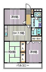 埼玉県さいたま市南区四谷1丁目の賃貸マンションの間取り