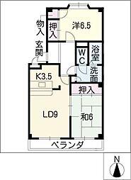 エステート徳重[4階]の間取り