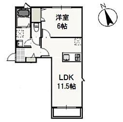 JR宇野線 大元駅 徒歩9分の賃貸アパート 2階1LDKの間取り