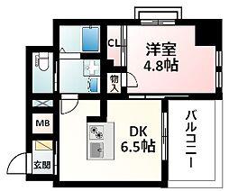Osaka Metro御堂筋線 江坂駅 徒歩16分の賃貸マンション 3階1DKの間取り