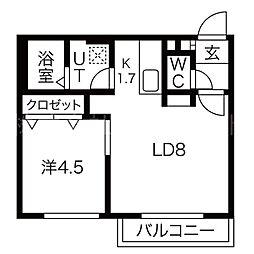 ヒルズ24 4階1LDKの間取り
