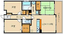 大阪府藤井寺市恵美坂1丁目の賃貸マンションの間取り