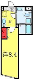 フィールコンフォート板橋仲宿 2階1Kの間取り