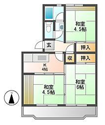 中駒九番団地4号棟[7階]の間取り