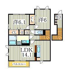 ラングレーヴンB[2階]の間取り