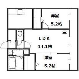 北海道札幌市中央区南十一条西12丁目の賃貸マンションの間取り