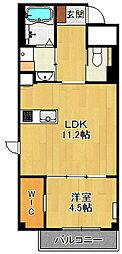 (仮称)K様 賃貸マンション 2階1LDKの間取り