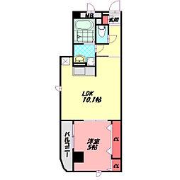 Osaka Metro谷町線 守口駅 徒歩22分の賃貸マンション 2階1LDKの間取り