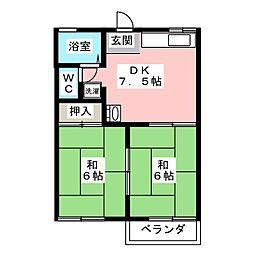 タウニー・ウララ A棟[2階]の間取り