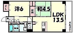 カサベラ新在家ツインズ2号館[9階]の間取り