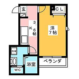 (仮称)木月3丁目新築工事 2階1Kの間取り