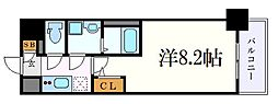 名古屋市営東山線 新栄町駅 徒歩7分の賃貸マンション 11階1Kの間取り