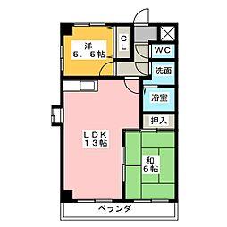 サンシティークマノ[3階]の間取り
