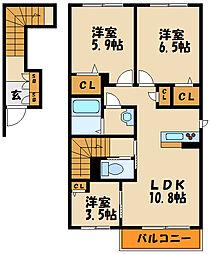 シャーメゾン松陰山手[2階]の間取り