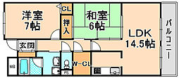 兵庫県伊丹市安堂寺町6丁目の賃貸マンションの間取り