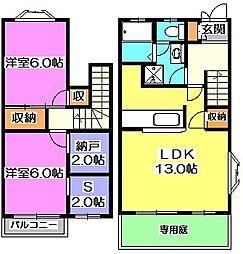 [テラスハウス] 東京都東久留米市小山3丁目 の賃貸【東京都 / 東久留米市】の間取り