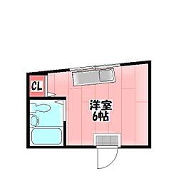 Osaka Metro今里筋線 清水駅 徒歩15分の賃貸マンション 2階ワンルームの間取り