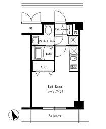 ブリリアント恵比寿 3階ワンルームの間取り