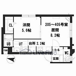 札幌市営南北線 中の島駅 徒歩8分の賃貸マンション 4階1LDKの間取り