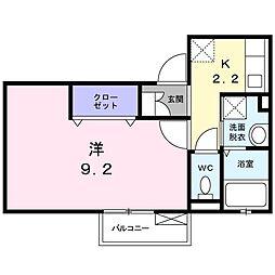 京阪本線 千林駅 徒歩5分の賃貸アパート 2階1Kの間取り