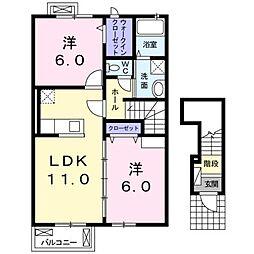 グラーベン 2階2LDKの間取り